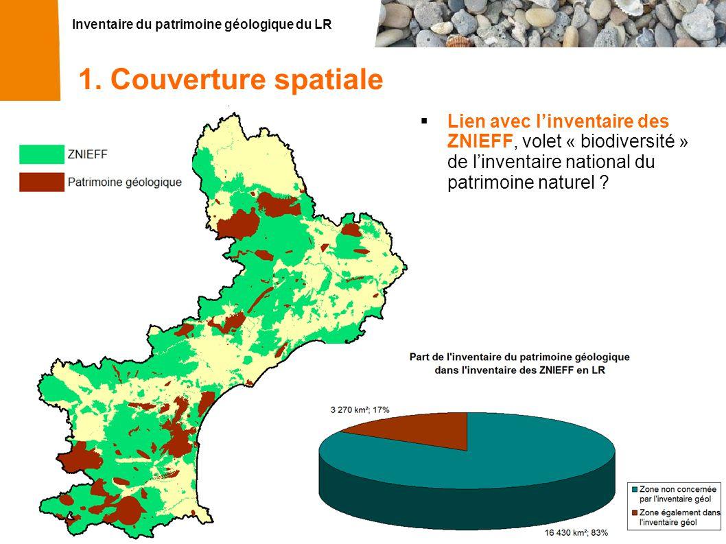 1. Couverture spatiale Lien avec l'inventaire des ZNIEFF, volet « biodiversité » de l'inventaire national du patrimoine naturel