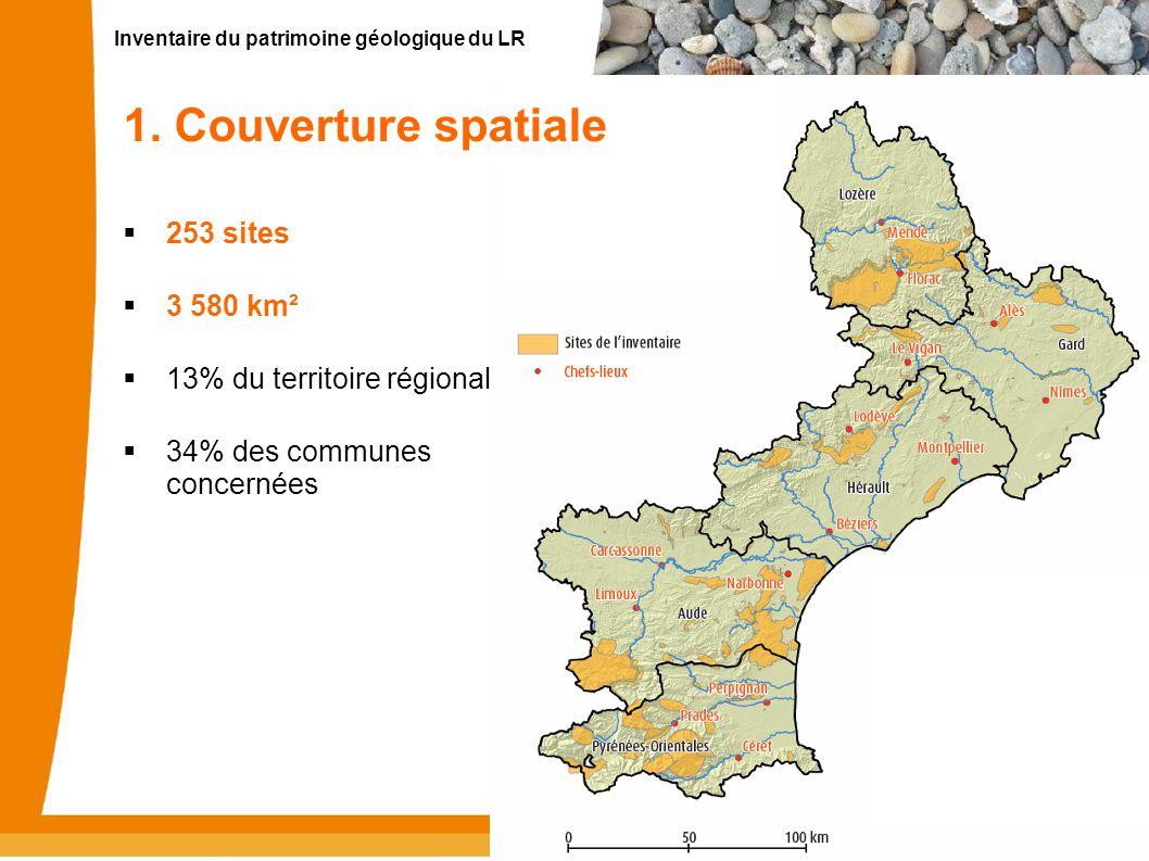 1. Couverture spatiale 253 sites 3 580 km² 13% du territoire régional