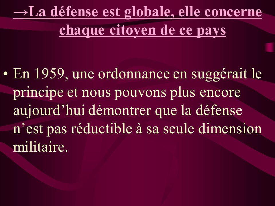→La défense est globale, elle concerne chaque citoyen de ce pays