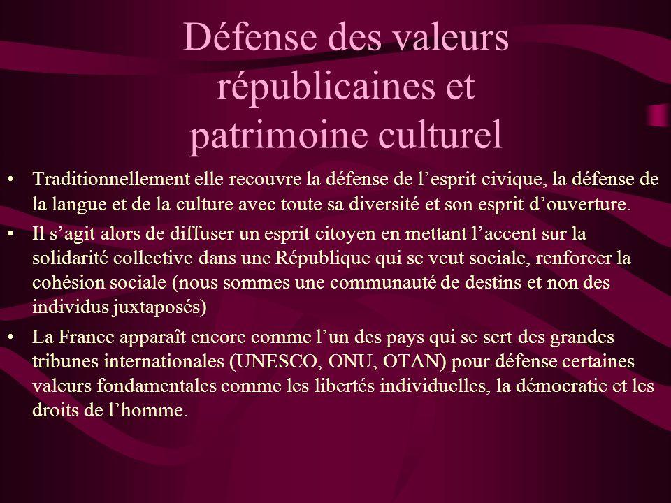 Défense des valeurs républicaines et patrimoine culturel
