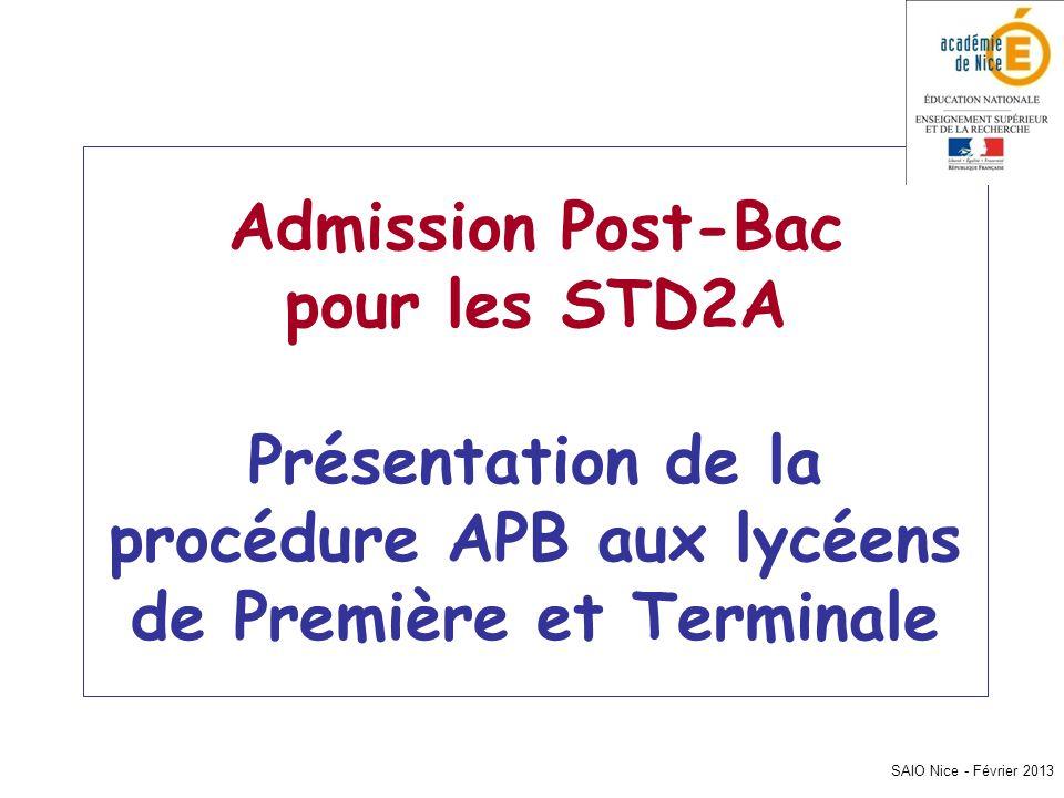 Admission Post-Bac pour les STD2A Présentation de la procédure APB aux lycéens de Première et Terminale