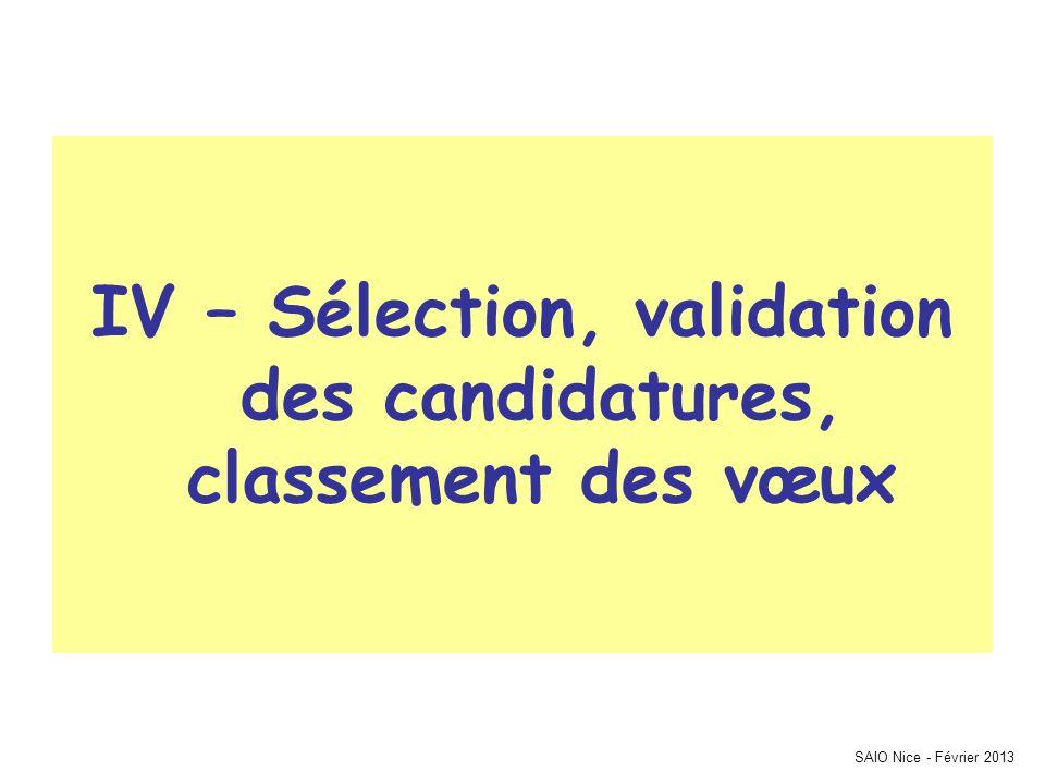 IV – Sélection, validation des candidatures, classement des vœux