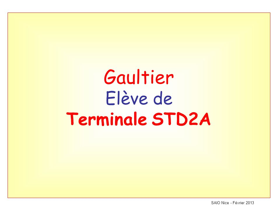 Gaultier Elève de Terminale STD2A