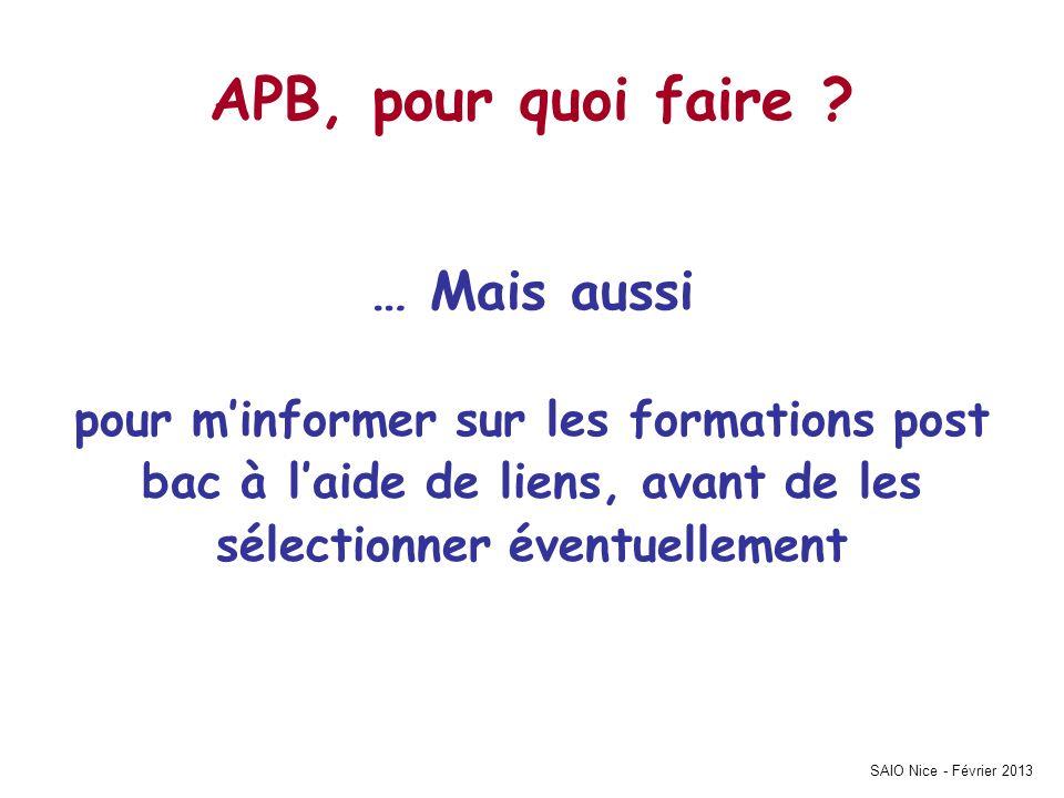 APB, pour quoi faire … Mais aussi