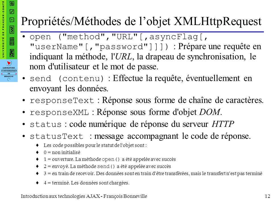 Propriétés/Méthodes de l'objet XMLHttpRequest