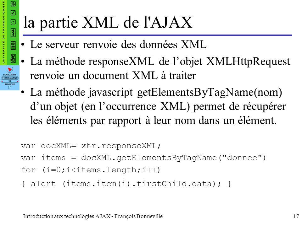la partie XML de l AJAX Le serveur renvoie des données XML