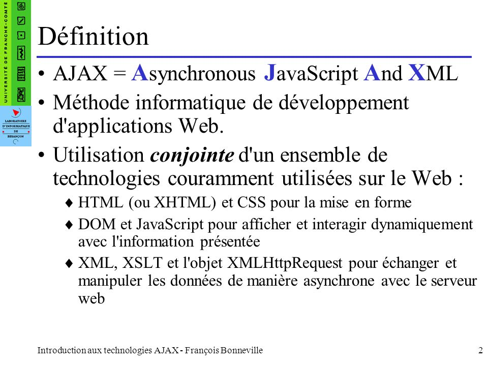 Définition AJAX = Asynchronous JavaScript And XML
