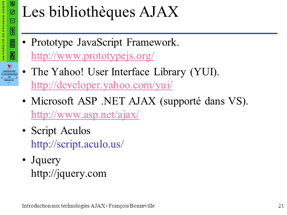 Les bibliothèques AJAX