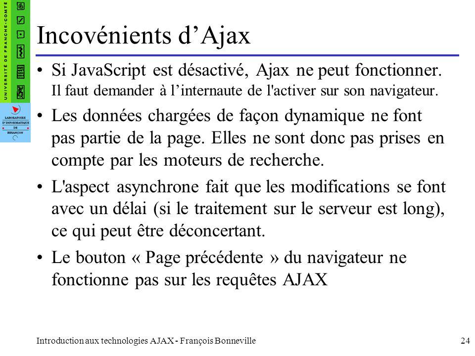 Incovénients d'Ajax Si JavaScript est désactivé, Ajax ne peut fonctionner. Il faut demander à l'internaute de l activer sur son navigateur.