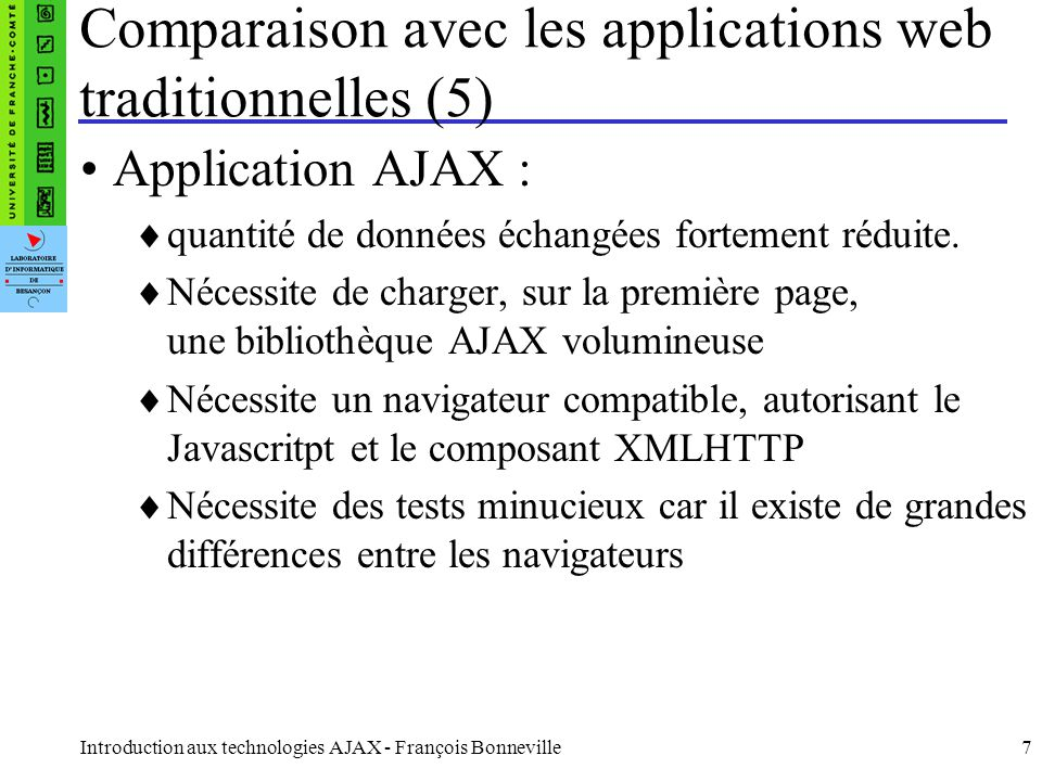 Comparaison avec les applications web traditionnelles (5)