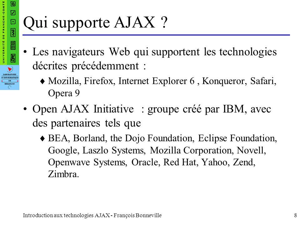 Qui supporte AJAX Les navigateurs Web qui supportent les technologies décrites précédemment :