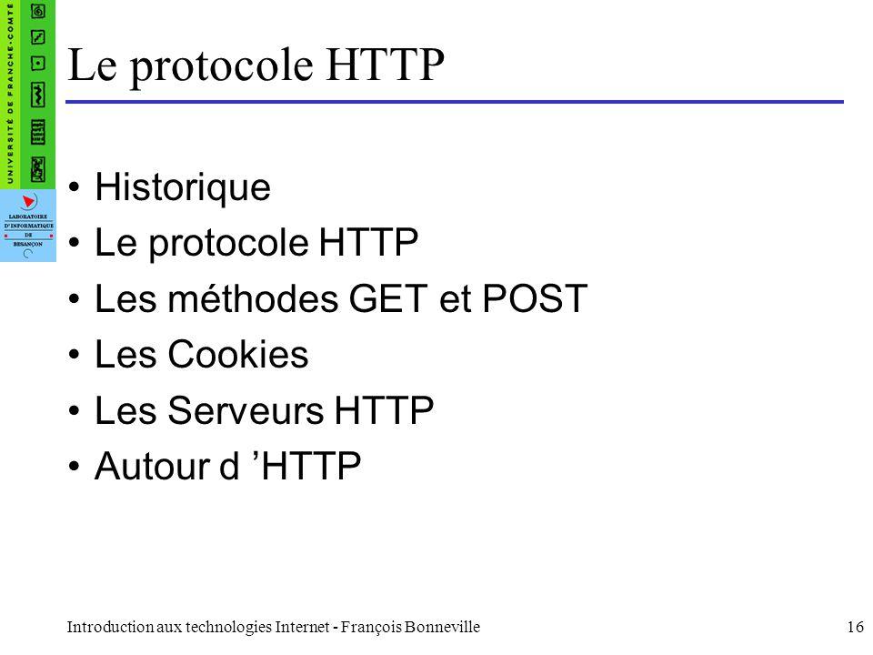 Le protocole HTTP Historique Le protocole HTTP