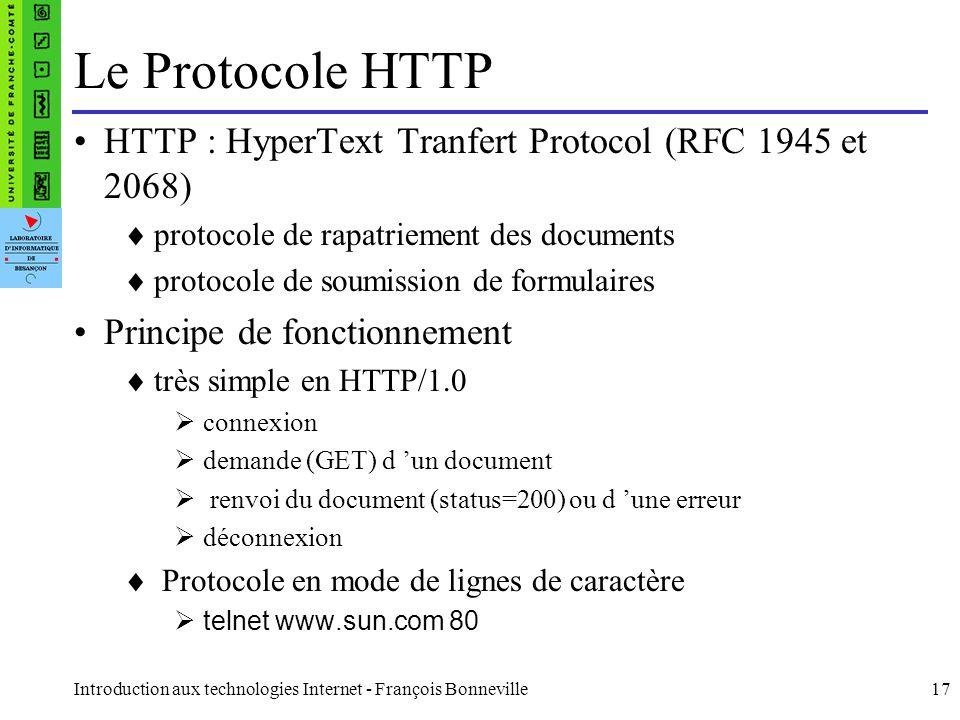Le Protocole HTTP HTTP : HyperText Tranfert Protocol (RFC 1945 et 2068) protocole de rapatriement des documents.