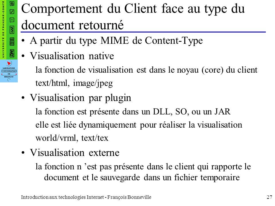 Comportement du Client face au type du document retourné