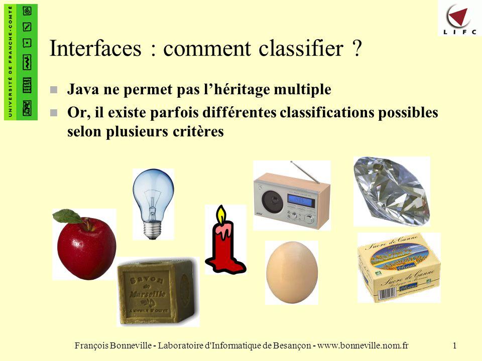 Interfaces : comment classifier