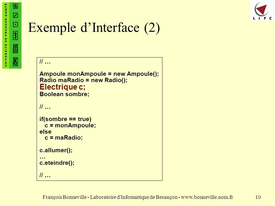 Exemple d'Interface (2)