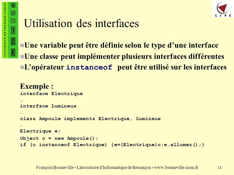 Utilisation des interfaces