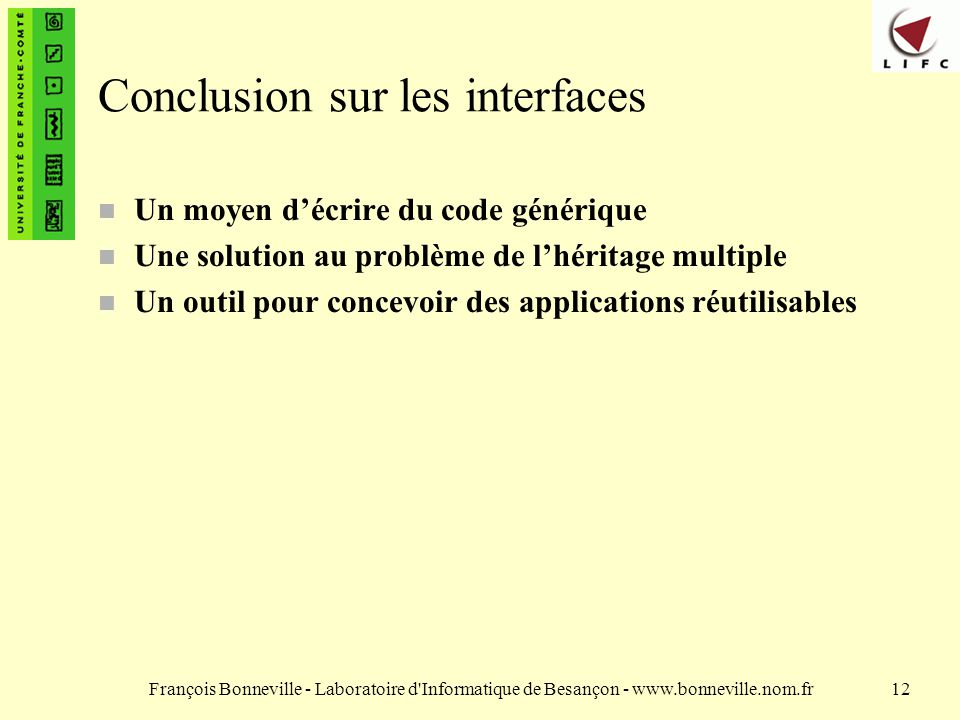 Conclusion sur les interfaces