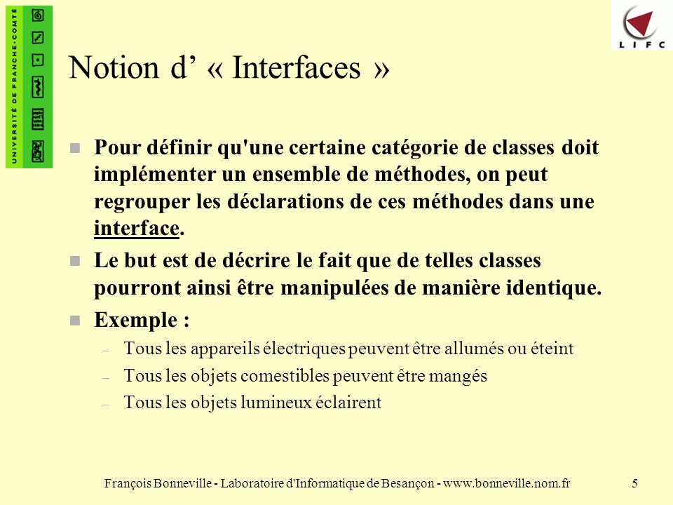 Notion d' « Interfaces »