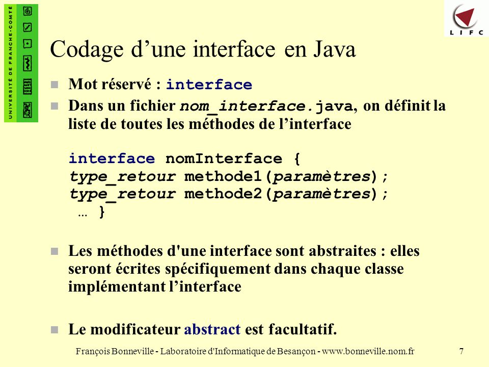 Codage d'une interface en Java