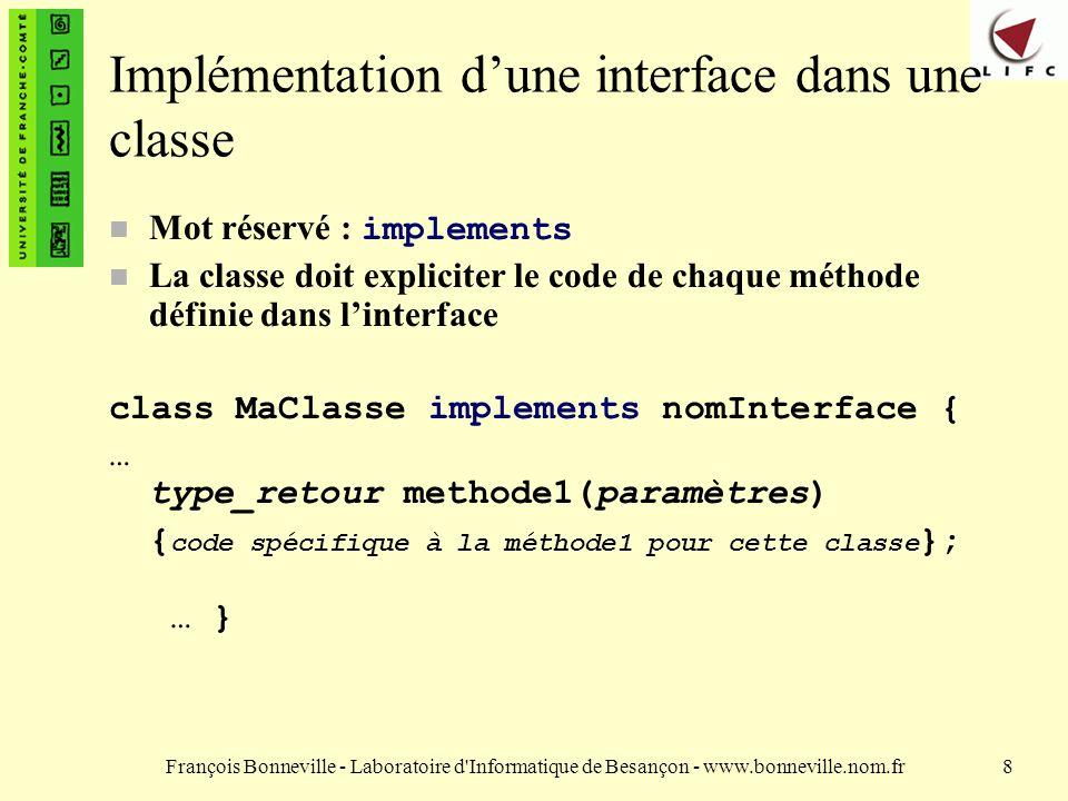 Implémentation d'une interface dans une classe