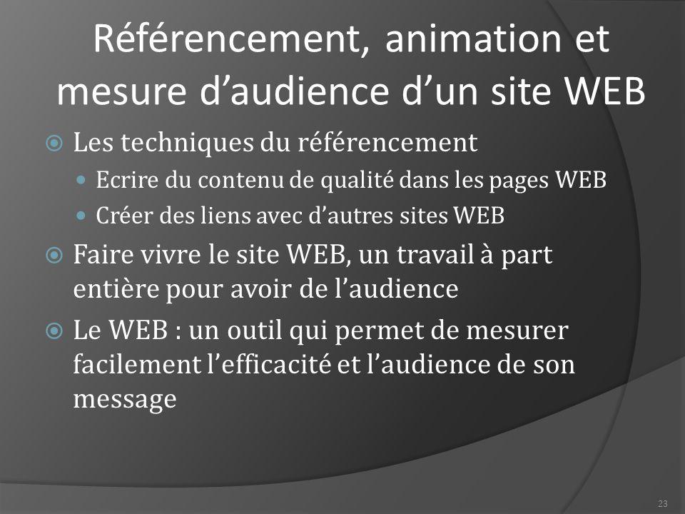 Référencement, animation et mesure d'audience d'un site WEB