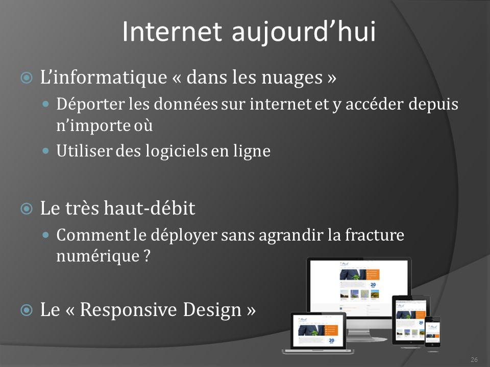 Internet aujourd'hui L'informatique « dans les nuages »