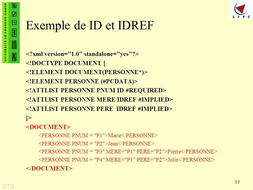 Exemple de ID et IDREF < xml version= 1.0 standalone= yes >