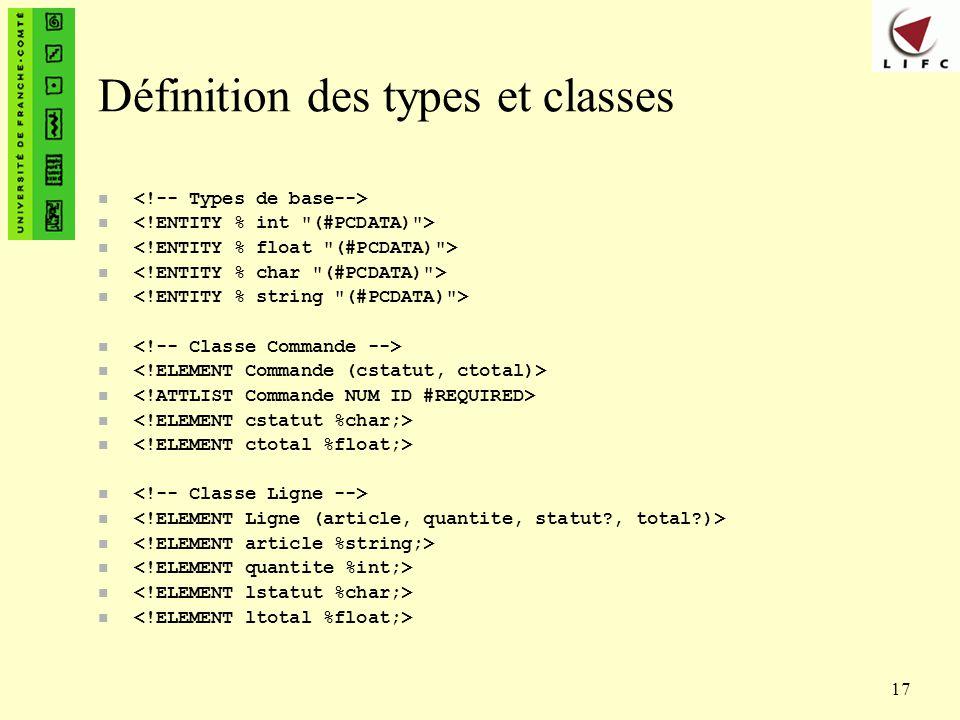 Définition des types et classes