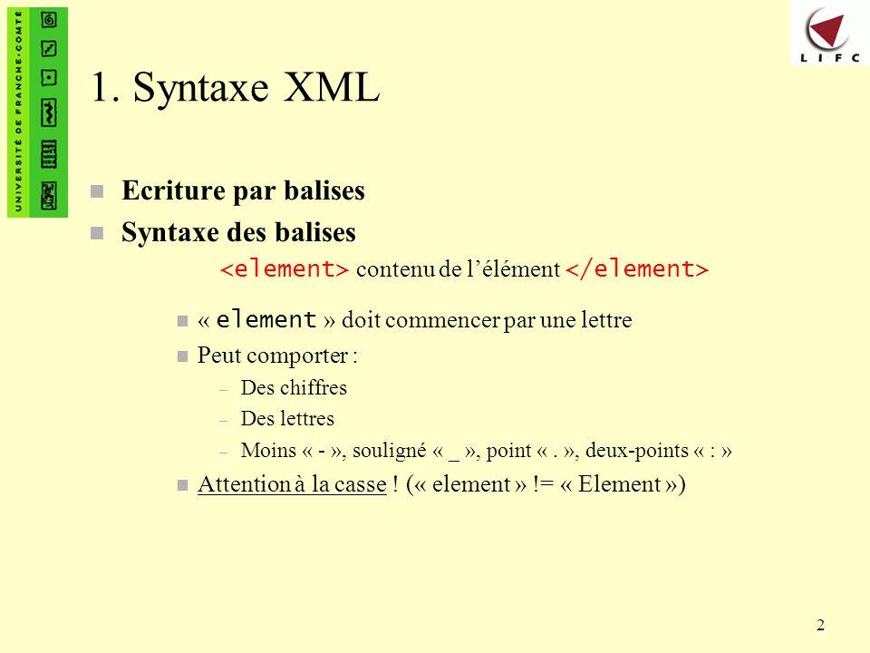 1. Syntaxe XML Ecriture par balises Syntaxe des balises