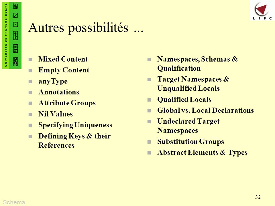 Autres possibilités ... Mixed Content Empty Content anyType