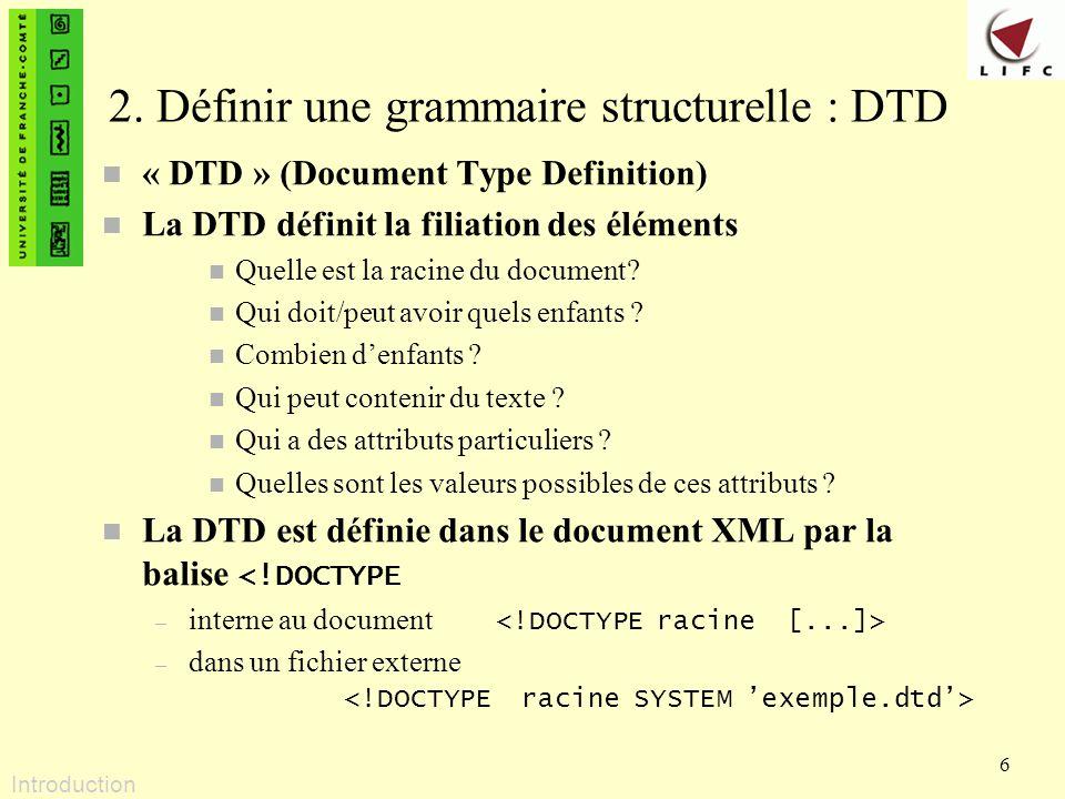 2. Définir une grammaire structurelle : DTD