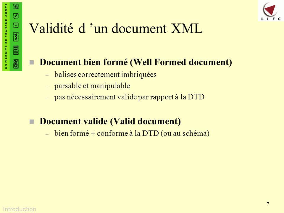 Validité d 'un document XML