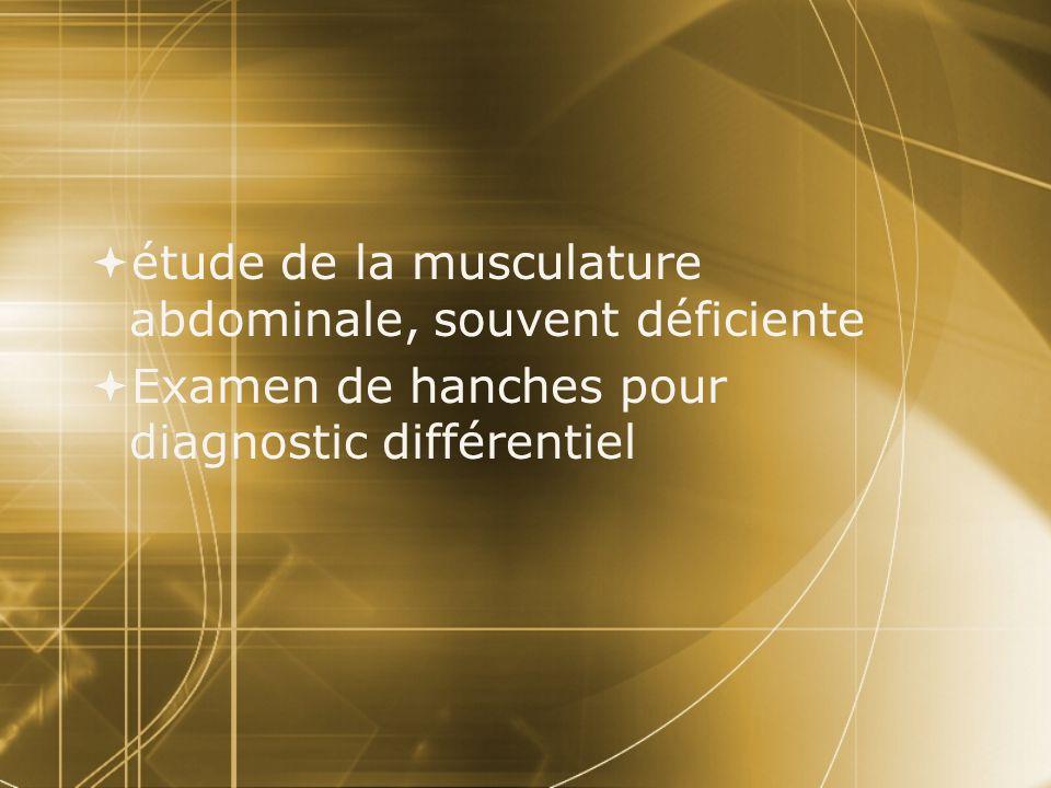 étude de la musculature abdominale, souvent déficiente