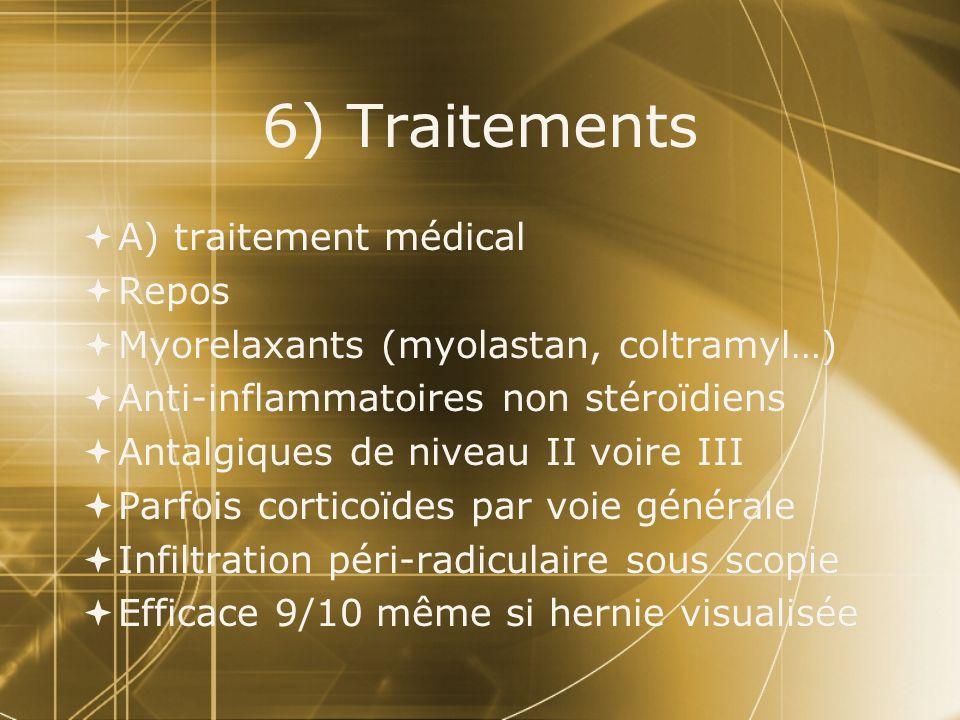 6) Traitements A) traitement médical Repos