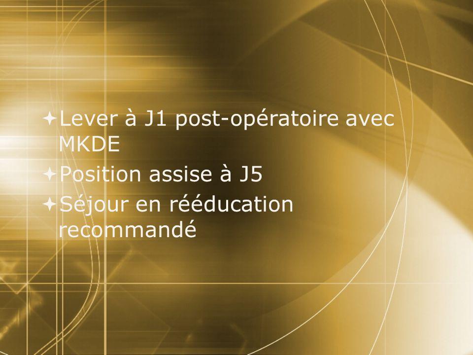 Lever à J1 post-opératoire avec MKDE