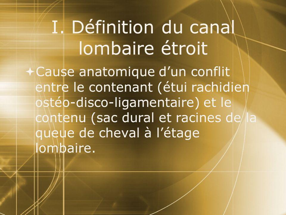 I. Définition du canal lombaire étroit