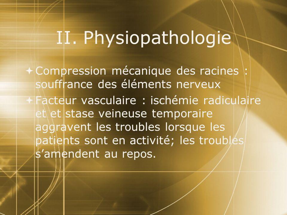 II. Physiopathologie Compression mécanique des racines : souffrance des éléments nerveux.