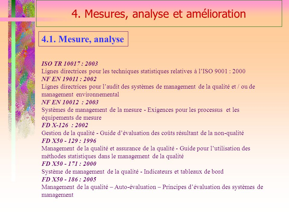 4. Mesures, analyse et amélioration