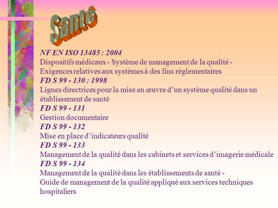 Santé NF EN ISO 13485 : 2004. Dispositifs médicaux - Système de management de la qualité -