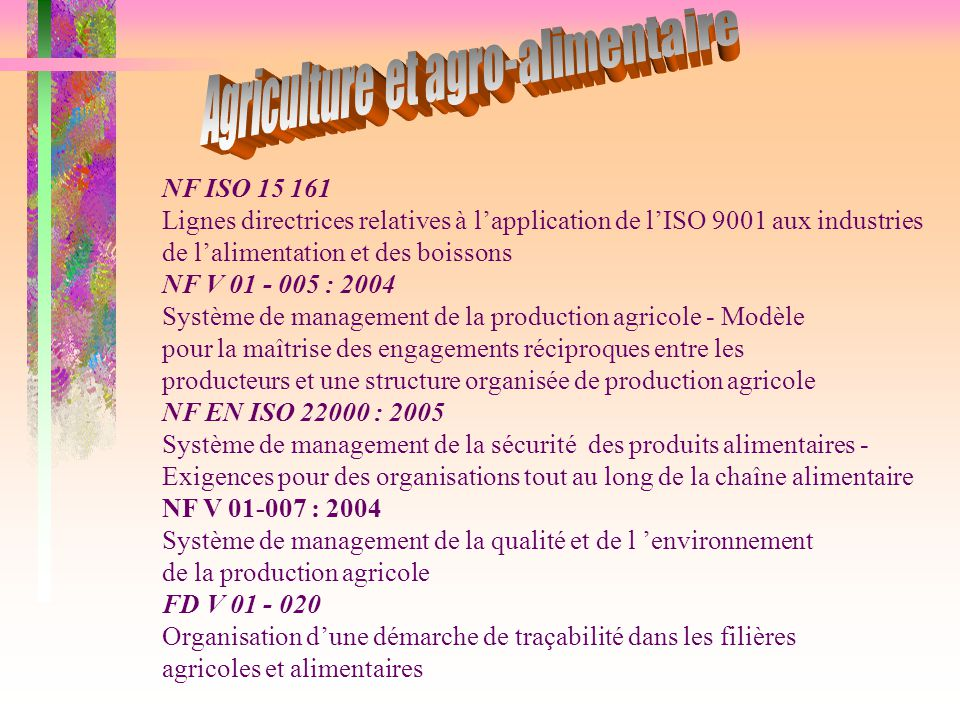 Agriculture et agro-alimentaire