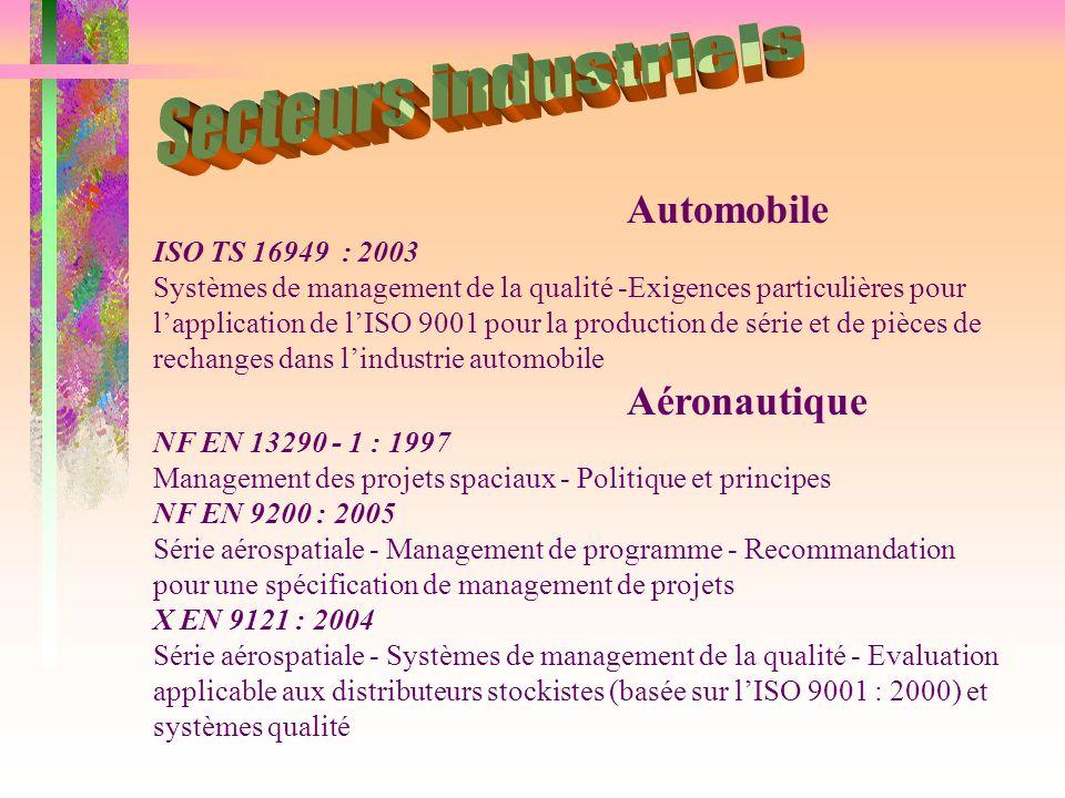 Secteurs industriels Automobile Aéronautique ISO TS 16949 : 2003