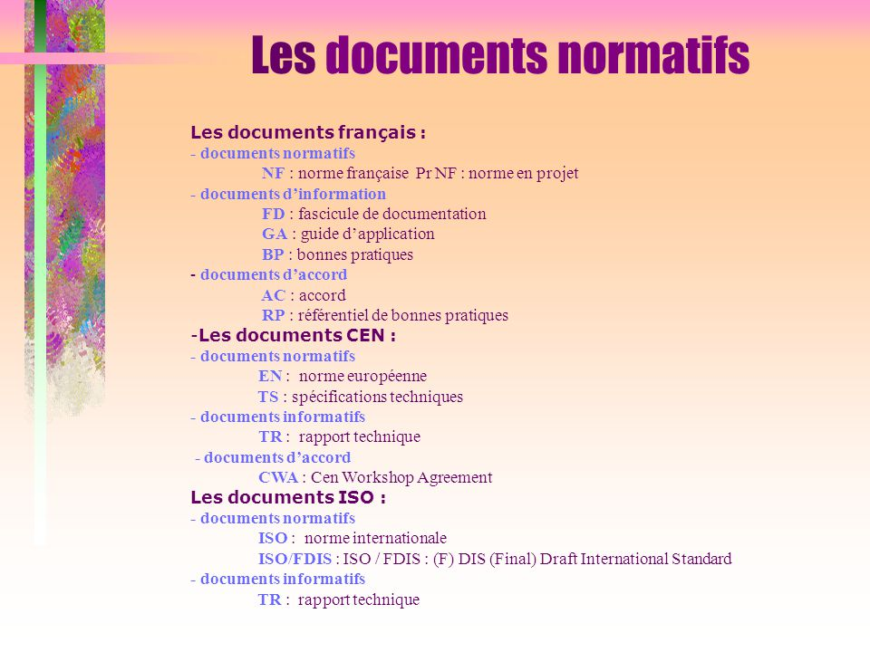 Les documents normatifs