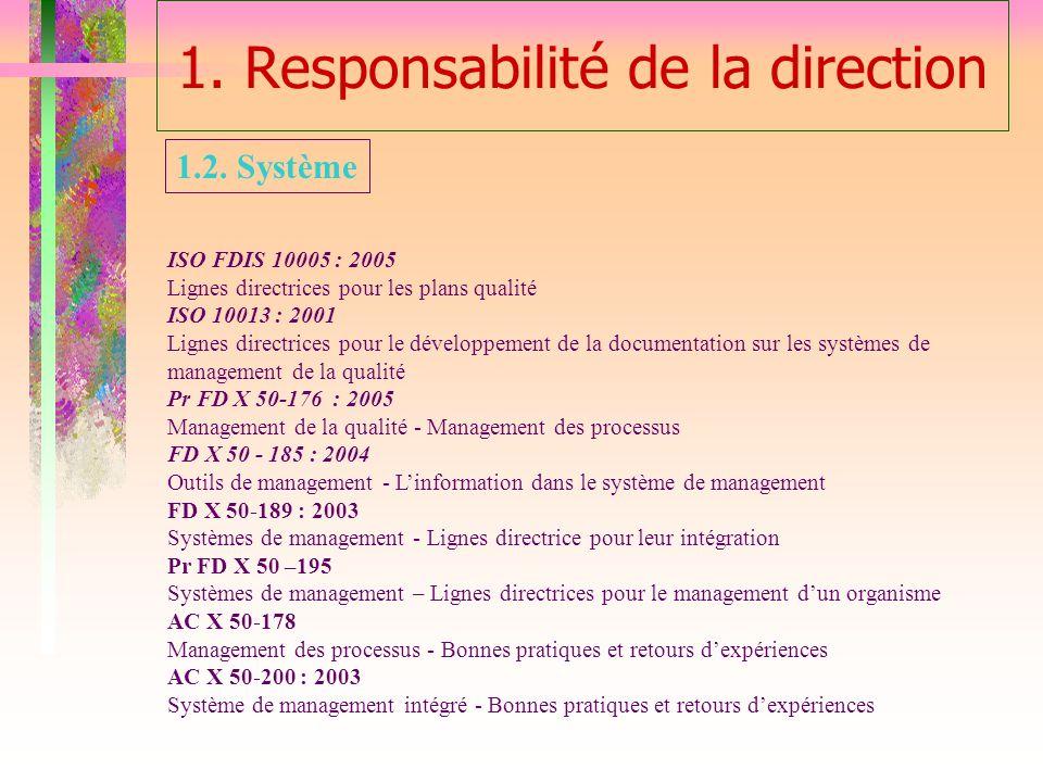1. Responsabilité de la direction