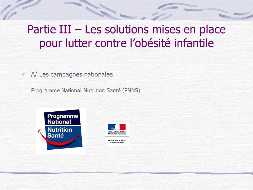 Partie III – Les solutions mises en place pour lutter contre l'obésité infantile