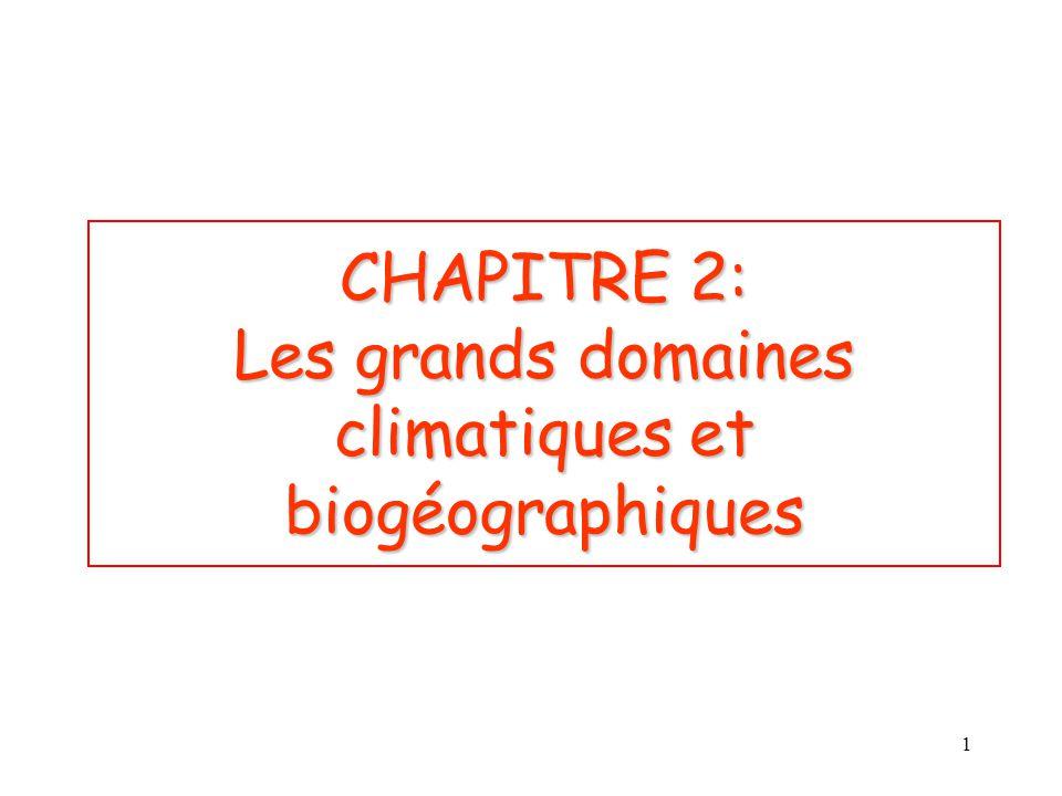 CHAPITRE 2: Les grands domaines climatiques et biogéographiques