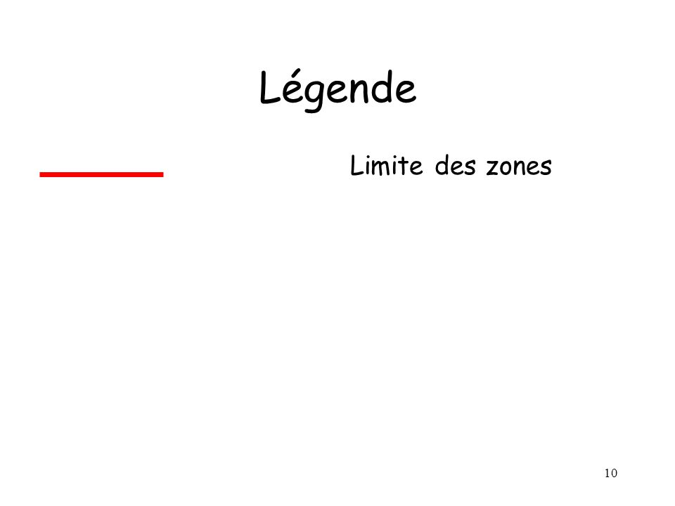 Légende Limite des zones