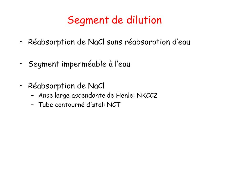 Segment de dilution Réabsorption de NaCl sans réabsorption d'eau