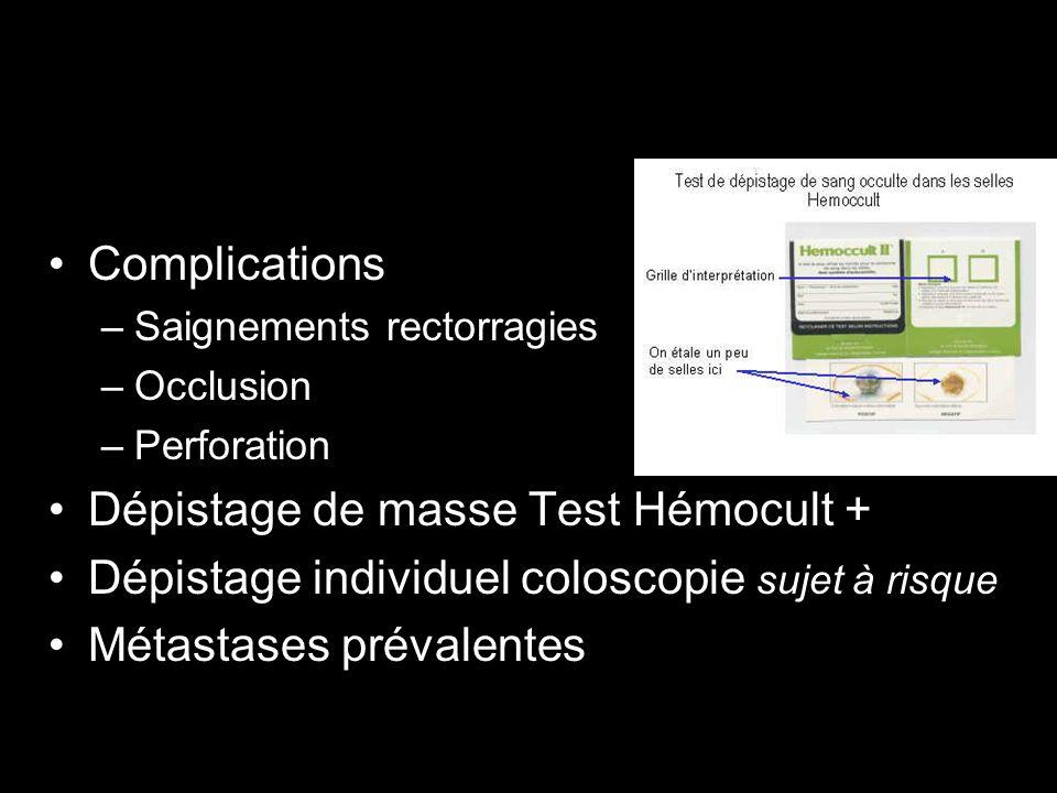 Dépistage de masse Test Hémocult +