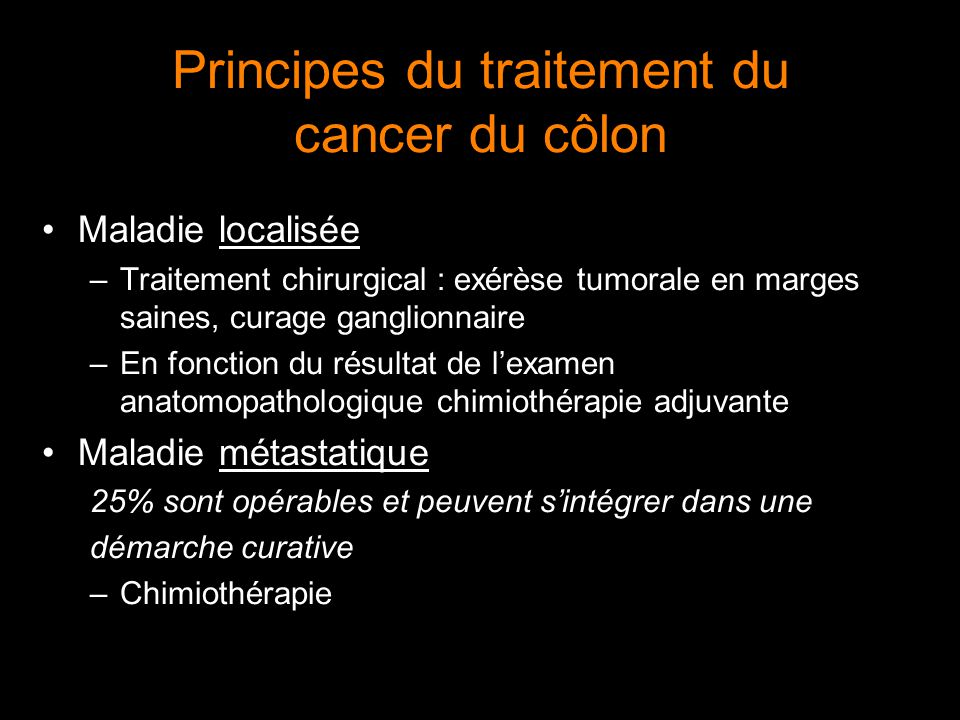 Principes du traitement du cancer du côlon